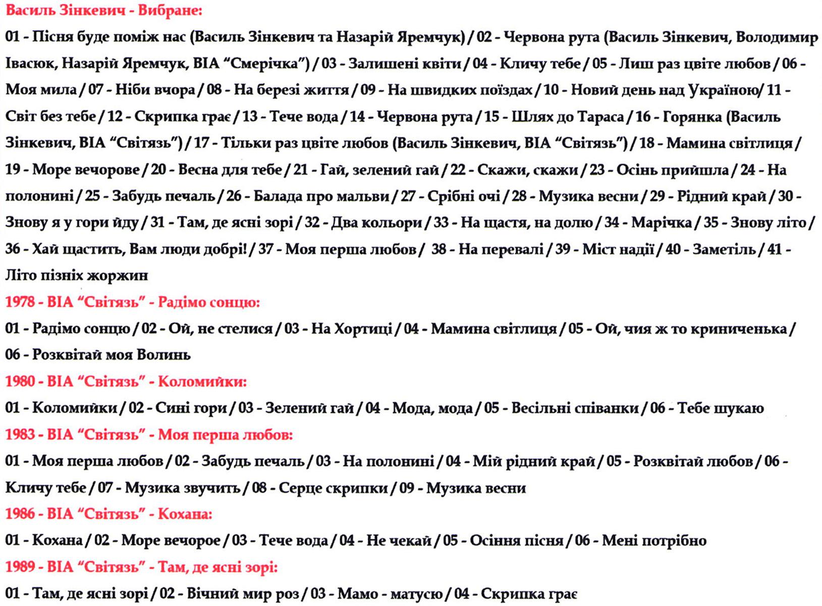 Василь Зінкевич & ВІА Світязь [mp3]